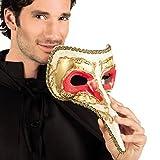 Elegante Schnabelmaske Venezianische Maske gold-rot Pestmaske Maskenball Rabenmaske Männer