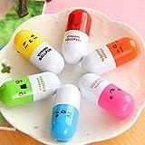 Penna a sfera a capsula (una in verde, rosa, giallo e blu) a 6 colori