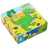 DEBON Holz-Puzzle im Kubus-Form, Frühbildungs-Spielzeug für Babys oder Kinder Dinosaurier