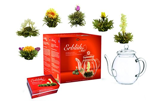 Mix de fleurs de thé Creano - Coffret cadeau- « Floraison » -avec théière en verre | Thé blanc (6 sortes différentes)