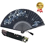 "OMyTea 8.27""(21cm) Women Hand Held Silk Folding Fans With Bamboo Frame - With A Fabric Sleeve For Protection For Gifts - Chinese / Japanese Style Butterflies And Morning Glory Flowers Pattern (Black)"