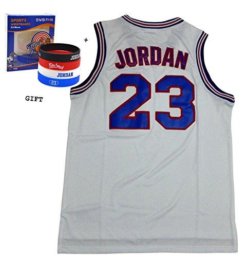 Jordan 23Squad Space Jam Jersey Basketball Jersey inkl. Motto Armbänder (weiß, L)