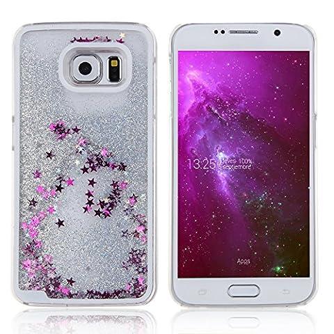 Coque pour Samsung Galaxy S6, ISAKEN Transparente Liquide Paillette Brillante Plastique Arrière Protecteur Dur Etui Housse de Protection Étui Coque Strass Case Cover pour Samsung Galaxy S6 (Étoile Argent)