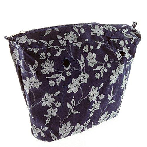 Interior Vento® auf blauen Stoffbeutel mit weißen Blüten Reißverschluss kompatibel mit Obag