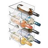 mDesign Rangement bouteille - Casier à bouteille accessoire parfait pour ranger les bouteilles - Porte bouteille empilable idéal pour bouteilles de vin - 8 bouteilles de vin - Sans BPA - transparent