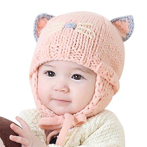 KanLin Kleinkind Baby Earflaps Kinder Stricken Winter warme Hüte (Pink)