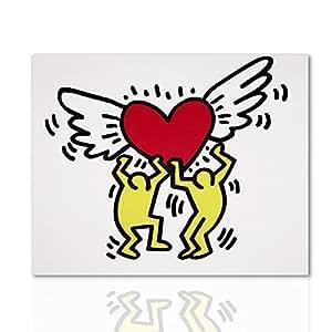 Quadro moderno Cuore con ali omaggio a Keith Haring - Pronto da appendere con telaio in legno - Design Colorscrazy