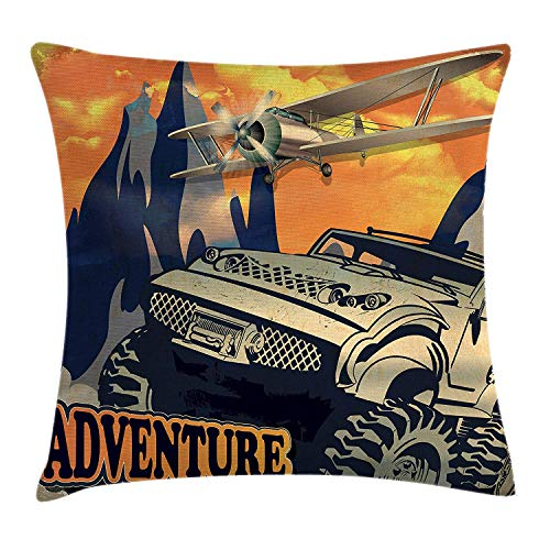 K0k2t0 Adventure Throw Pillow Cushion Cover, Grunge Retro Poster of a Big Car with Huge Tyres and Biplane on The Mountains, Decorative Square Accent Pillow Case, 18 X 18 inches, Orange Tan -