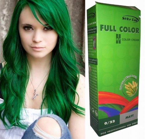 (Permanente Haarfarbe Tönung Coloration Haar Cosplay Gothic Punk Grün 0/22 OHNE Parabene, Ammoniak, Silikone, Sulfate)