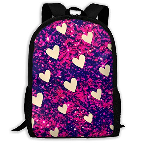 TRFashion Beauty White Heart Unisex Unique Backpack School Casual Sports Book Bags Durable Oxford College Laptop Computer Shoulder Bags Lightweight Travel Daypacks Rucksack