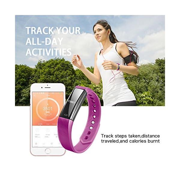 Fitness Tracker Pulsera Inteligente, RobotsDeal id115 Recordar de llamada con Bluetooth Remoto Disparador Automático Inteligente Reloj Podómetro Inalámbrico Actividad Tracker ( Púrpura) 4