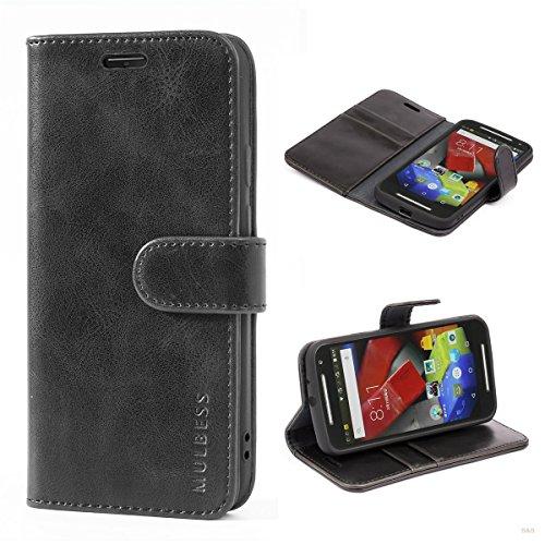 Mulbess (Vintage bookstyle) Premium Handy Schutzhülle Ledertasche im Kartenfach für Motorola Moto G 2. Generation (5 Zoll) Tasche Hülle Leder Etui Schale,Schwarz