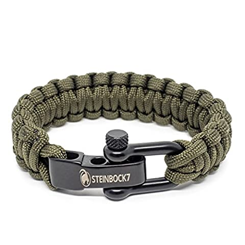 Steinbock7® PARACORDE Bracelet survie Fermoir en acier inoxydable réglable, avec instructions pour le tressage (français non garanti)., Army-Green, 23 cm