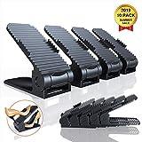 YUNDOO Organizador Zapatos, 10 Packs Ajustable Organizador de Zapatos Soportes de Calzado Apilador para Zapatos Ahorrar Espacio Negro (Negro-Zapatos)