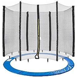 Arebos Coussin de protection pour trampoline + filet / 244, 305, 366, 396, 430, 460 et 490 cm / filet pour 6 ou 8 tiges (305 cm, filet pour 6 tiges)