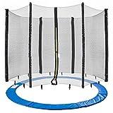 Arebos Coussin de protection pour trampoline + filet / 244, 305, 366, 396, 430, 460 et 490 cm / filet pour 6 ou 8 tiges (305 cm,...