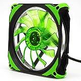 Coloré(TM) Ventilateur de boîtier Ventilateur pour processeur Le calme 120mm DC 12V 3 + 4pin LED efface le ventilateur de cas d'ordinateur clair pour le mod de radiateur (Vert)