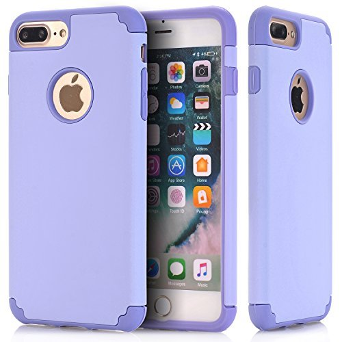 en, nokea 2 in1 Hybrid CASE für iPhone 7 Plus. Hard Cover für iPhone 7 Plus Bedruckt Design PC + Silikon Hybrid High Impact Defender Case Combo Hart Weich, Purple Purple ()