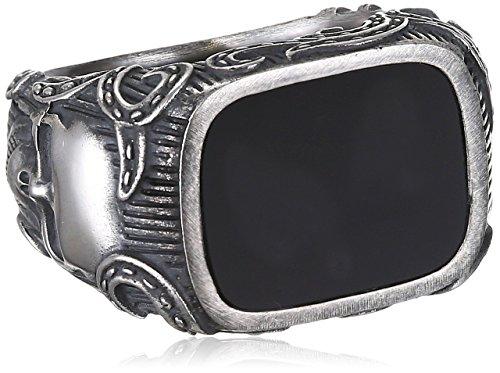caï men Herren-Ring ROCKABILLY 925 Silber Onyx schwarz Gr. 62 (19.7) - C4166R/90/13/62