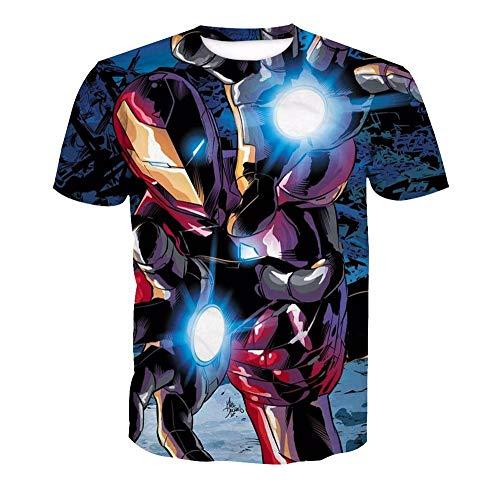 3D T-Shirt Unisex HD Gedrucktes Rundhalsausschnitt Lässig Mit Print Kurzarm Top Iron Man XXL (Paare Iron Kostüm Man)