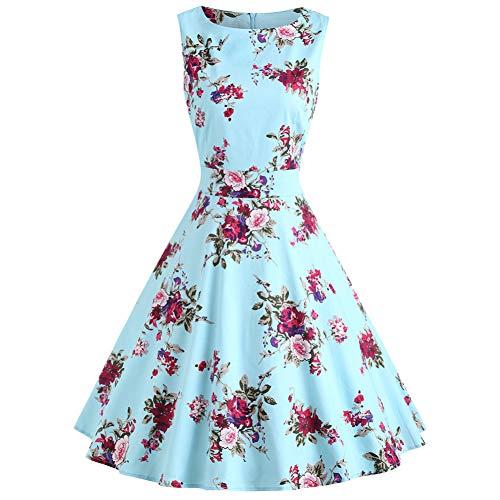 WDBXN Vintage Kleider Blumendruck Hohe Taille Schaukel Frauen Sommerkleid 50S O-Neck A-Line Partykleid,Butterfly Blue,L