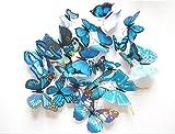 Cestlafit 3D Mode Schmetterling Wandaufkleber, PVC Simulation Schmetterling für Wohnkultur, Wanddekoration, 24er Pack, blau