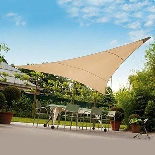 Tenda ombreggiante vela triangolare ecrù 3x3x3mt ombra giardino capeggio