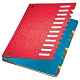 Leitz Pultordner, A4, 12 Fächer, Farbige Trennblätter, 3 Sichtlöcher, Karton, Rot, 59120025