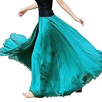 Fankle Women's Chiffon Maxi Skirt Elastic Waist Solid Lady Girls Long Maxi Beach Full Length Flowy Skirt Dress Summer Beach Skirt(Green,Free Size)