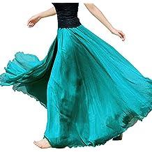 Sunenjoy Femme Longue Jupe en Mousseline de Soie D été Maxi Robe Taille  Élastique pour d661fb4ecde