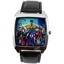 TAPORT® MARVEL UNIVERSE Quartz SQUARE Watch Black Real Leather Band +FREE SPARE BATTERY+FREE GIFT BAG
