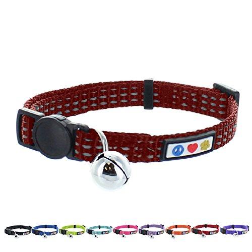 ndes Katzenhalsband für Haustiere mit Sicherheitsschnalle und abnehmbaren Klingel Marsala Braun (Leuchten, Namensschilder)