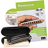 CASCHA Harmonica Learning Set Including High Quality Harmonica in C Major, Diatonic English Beginners School, Case and Cleaning Cloth, Ideal for Beginners and Adults