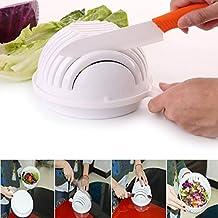 Itian Ensaladera, Cuchillo de Cortador de Vegetales, Cuencos de corte de ensalada para Cortar verduras frutas