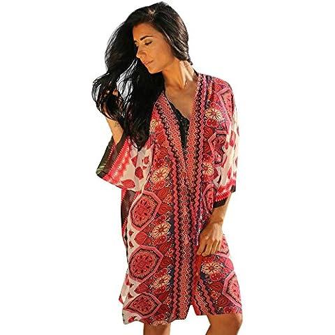 Women Dress,Women Printed Chiffon Loose Shawl Kimono Cardigan Shirt Blouse (XL, Red)