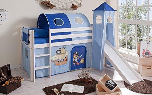 lifestyle4living Hochbett für Kinder in weiß-blau mit Rutsche, Turm und Vorhang im Piraten Motiv   Spielbett aus Kiefer Massivholz mit Einer Liegefläche 90x200 cm