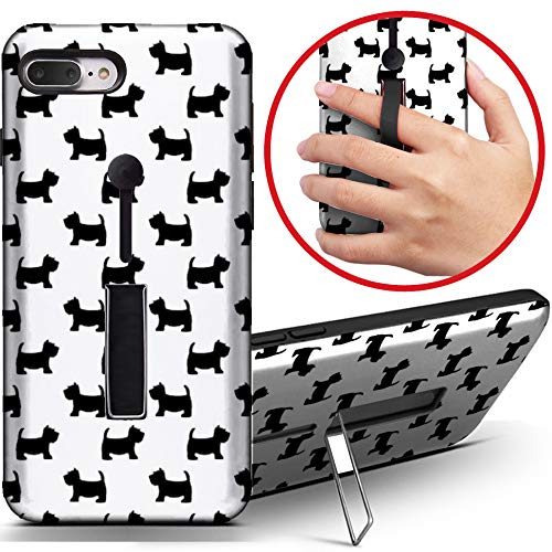 [Kompatibel mit Apple iPhone 7 Plus] Dual Armor Stoßfeste Fingerschlaufe Ring Holder Hard Case Cover with Kickstand (Scottish Terrier Cute) -
