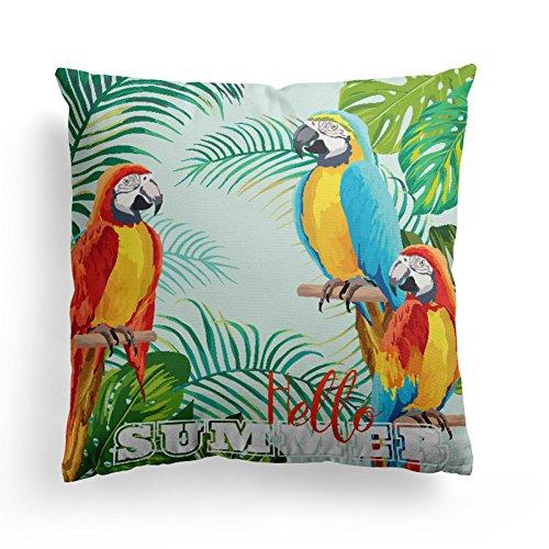 HuifengS - Fundas de cojín cuadradas de algodón suave y duradero, diseño tropical, decoración para sofás, camas, sillas, fundas de cojín, juego de 4, 45 x 45 cm