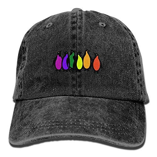 Hoswee Unisex Kappe/Baseballkappe, Gay Pride Rainbow Penguins Adult Sport Adjustable Baseball Cap Cowboy Hat -