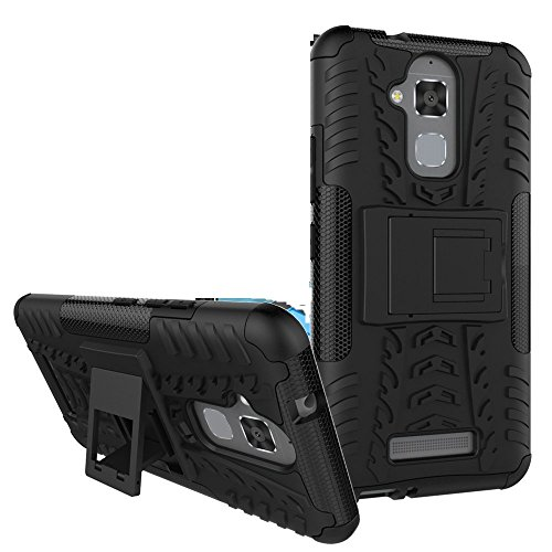 Efonebits(TM) BLACK Flip Kick Stand Spider Hard Dual Armor Hybrid Bumper Back Case Cover For Asus Zenfone 3 Max ZC520TL (5.2 inch)  available at amazon for Rs.229