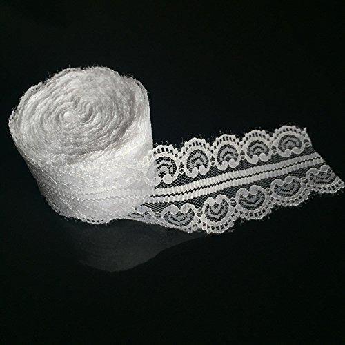 IBuyi 10 Yards Spitze Rollen Weißes Spitze Band Vintage Blumen Spitze Trimmen Braut Hochzeit Spitze für Dekoration Kunststoff Handwerk (#1 4.5cm)