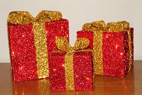 3er-Set goldene Weihnachtspakete mit Beleuchtung und goldener Schleife (023A) ? mit batteriebetriebenen LED-Leuchten ? für drinnen und draußen geeignet