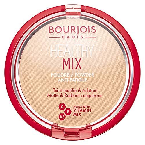 Bourjois Cipria Compatta Healthy Mix Zero Segni di Stanchezza, Formula Opacizzante e Uniformante con Vitamine A, E e B6, 01 Vanille