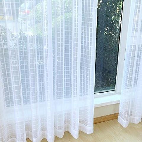 Haute qualité brodée creux écrans respirant balcon Chambre à coucher Voilage Vitrage creux ventilé Blanc 200cmx270cm (80x 274,3cm) -1pièce, Grommet Top, 1*?200*270cm?