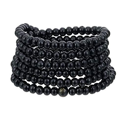 SHOUZ Classico Braccialetto Moda/Vendita 6mm 216 Bracciale Perline in Legno di Sandalo Naturale Buddista Buddha con Perline di Legno bracciali Collana Donna Gioielli da Uomo