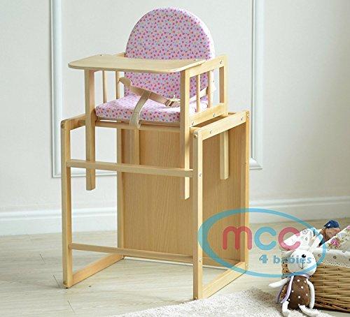 Spieltisch Hochstuhl (MCC Rosa 3 in 1 Kinderhochstuhl aus Holz mit Geschirr, umwandelbar zum Spieltisch)