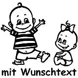 Babyaufkleber Autoaufkleber für Geschwister mit Wunschtext - Motiv Z40-JM (16 cm)
