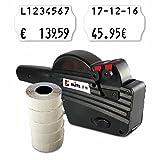 Preisauszeichner Set: Datumsauszeichner Blitz S16 für 26x16 inkl. 6.000 HUTNER Preisetiketten weiss leicht klebend   etikettieren   HUTNER