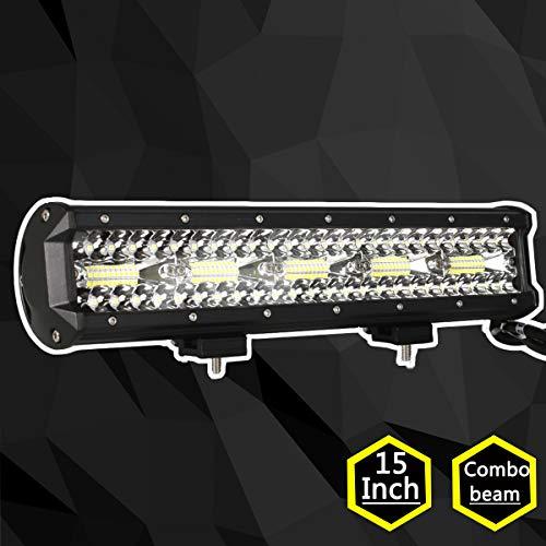 Lightronic 1PC 15inch 300W Projecteur LED Phare Lampe de Travail Chantier Lumière Flood/Spot SUV ATV off road Rampe Barre Feux Diurne lumière éclairage Camion 4x4 Tracteur Quad 12V 24V