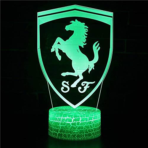 Vitila Illusion-Licht-Nachtlicht-Nachttischlampe Des Ferrari-3D Led Bunte Änderungs-Kreatives Geschenk, Schwarze Unterseite: Bunte Note